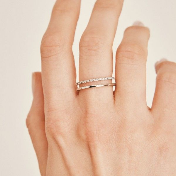 Stripe silver ring hand