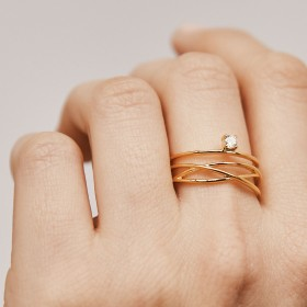 Starlight gold ring hand