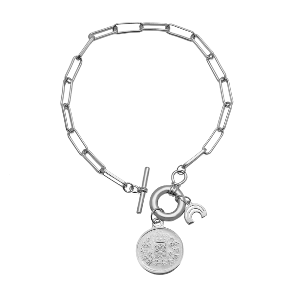 Free silver links bracelet detail