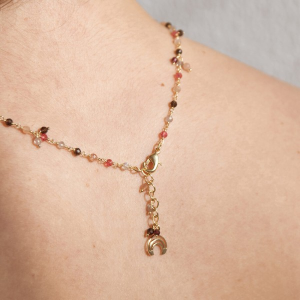 Pink Pearl Gold necklace model 4