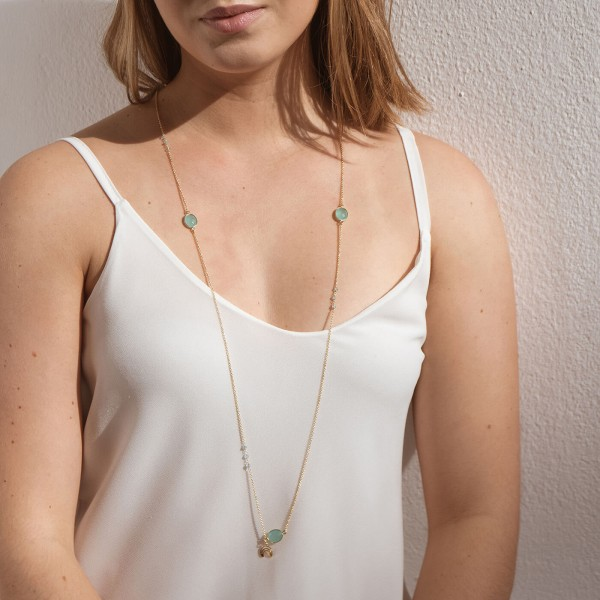Aqua Long Gold necklace model 2