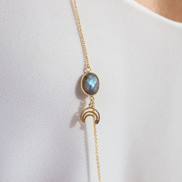 Labradorite Long Gold necklace detail