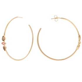 Pink Mimi Gold big hoops