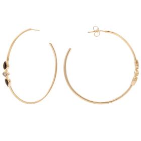 Black Spinel Mimi Gold hoop earrings