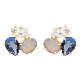 Blue Lis Gold stone earrings