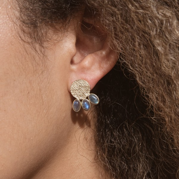 Labradorite Etnic Gold earrings model 4