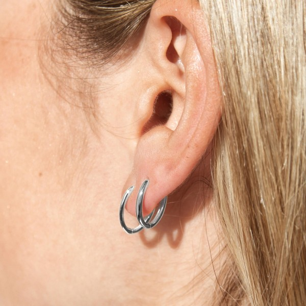 Sterling silver mini hoop earrings Lite detail