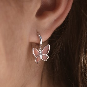Butterfly silver earrings detail