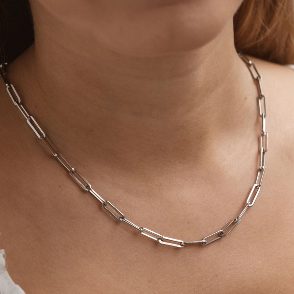 Big silver link chain necklace girl 2