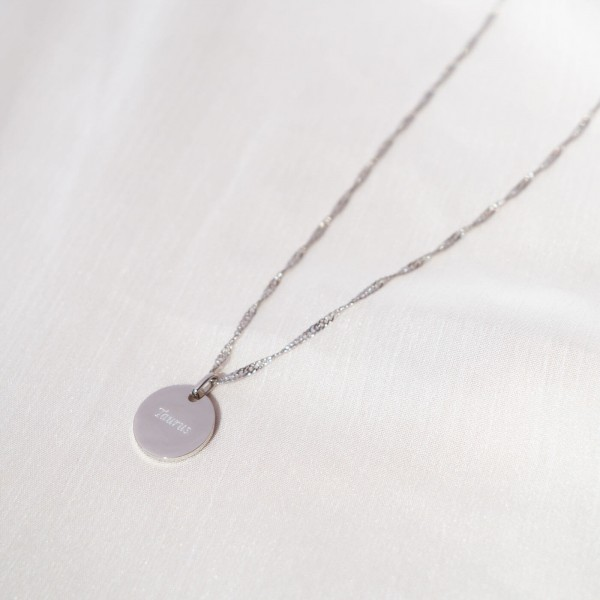 engraved taurus necklace