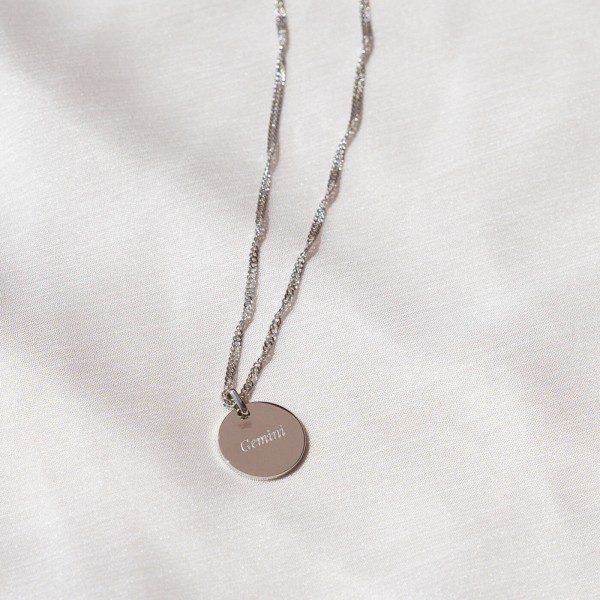 gemini engraved necklace